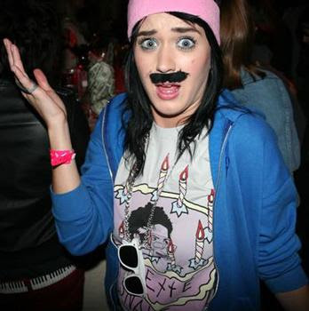 Singer Katy Perry in self-adhesive moustache at fredflare.com