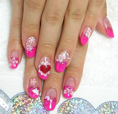aya1gou+pink+kimono Great looking nails with ribbons