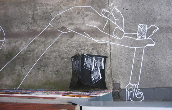 Amazing Street art made with masking tape