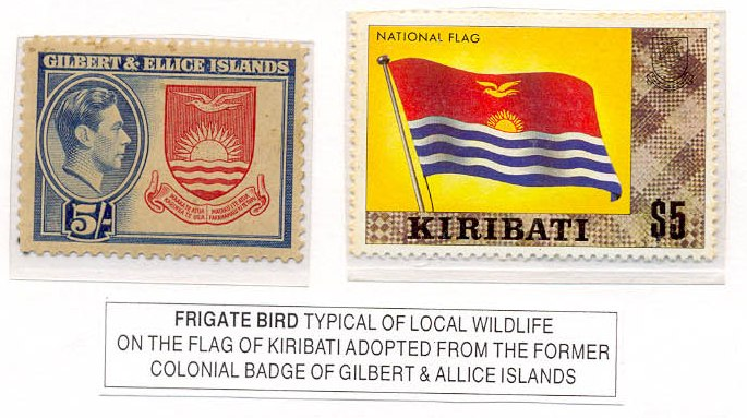 Flags and stamps birds on flags the flag of kiribati has on the upper half a gold frigate bird fregata minor in kiribati te eitei flying over a gold rising sun otintaai sciox Choice Image