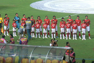 Indonesian players belt out their anthem