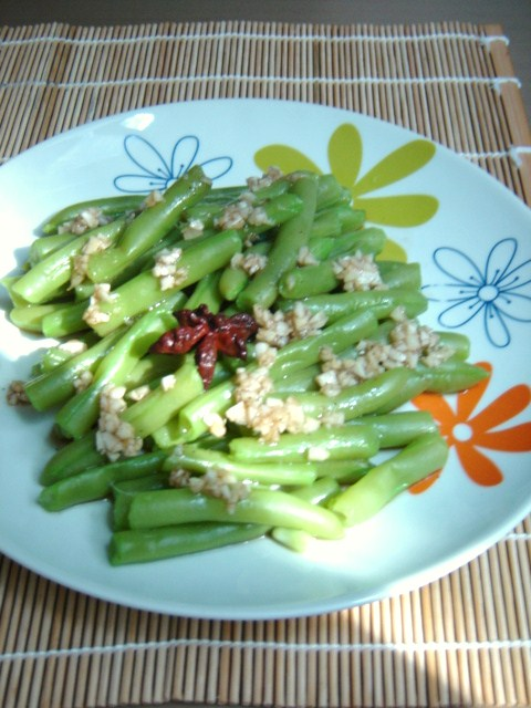recettes d 39 une chinoise salade de haricots verts li ngb n bi nd u. Black Bedroom Furniture Sets. Home Design Ideas