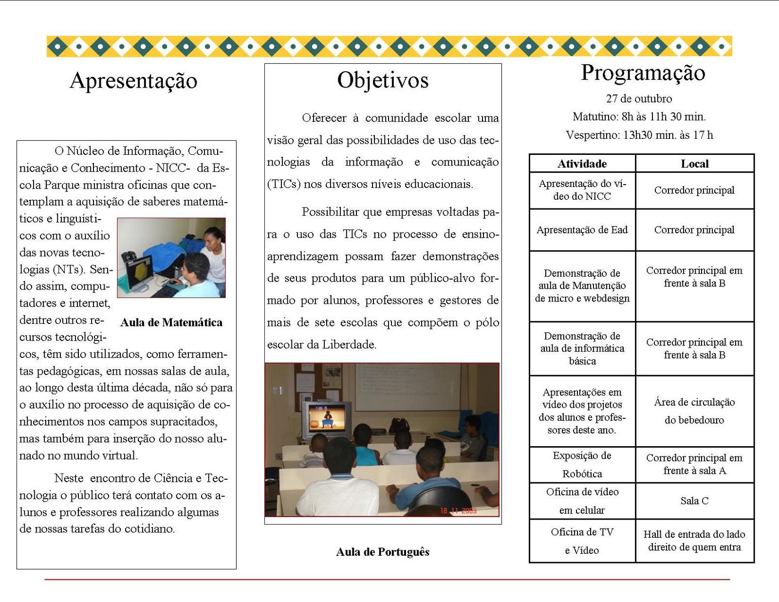 Jornal do NICC Escola Parque: 27 de outubro: Dia da Ciência e  #C49807 1600 1236