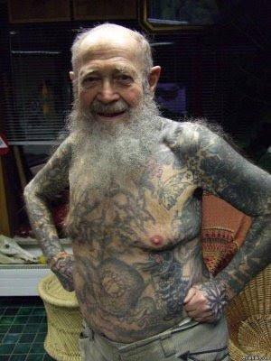 tattoos on old person