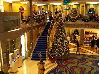 the atrium onboard the disney wonder - Disney Christmas Cruise