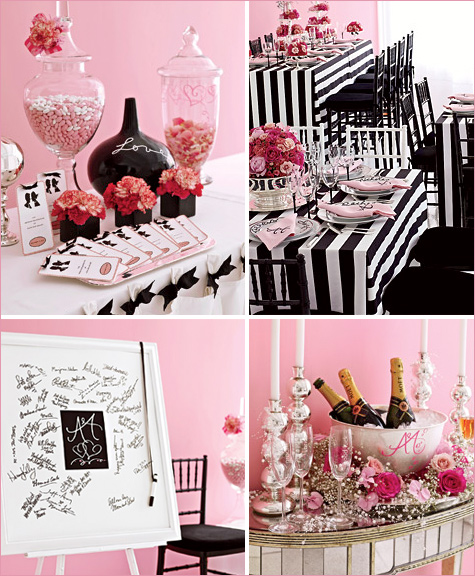 Wedding ideas black and pink wedding for Table theme gourmandise
