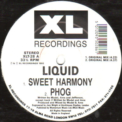Classic house music liquid sweet harmony xl recordings 1992 for 1992 house music