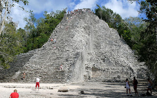 The Nohoch Mul pyramid at the Mayan ruins in Coba