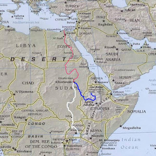 East Africa, showing the course of the Nile River, with the