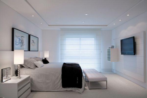 decoracao de quartos para ambientes pequenos : decoracao de quartos para ambientes pequenos:Sem cabeceira de cama porém com nicho para completar o visual