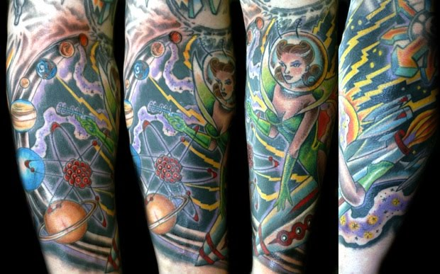 Space girl sleeve tattoo ink.