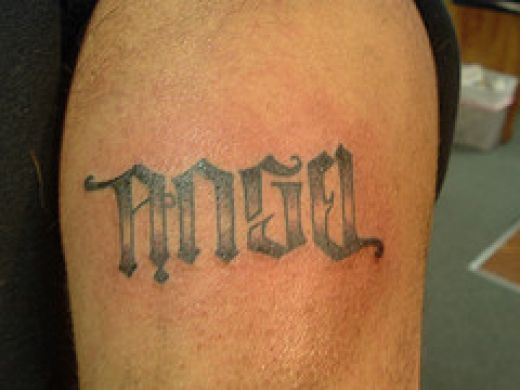 Fresh ambigram tattoo ink. at 12:20 PM