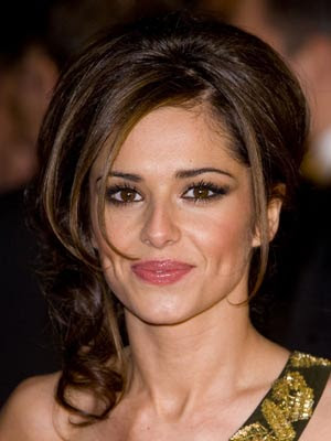 Updo hairstyle with minimal fringe. Cheryl Cole