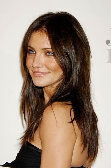 Cameron Diaz casual long natural brunette hairstyle.