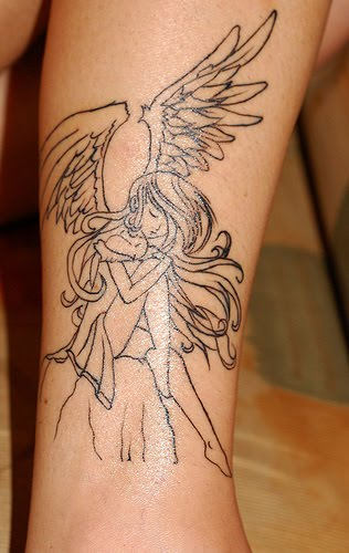 Beautiful anime angel tattoo before and after colorization.