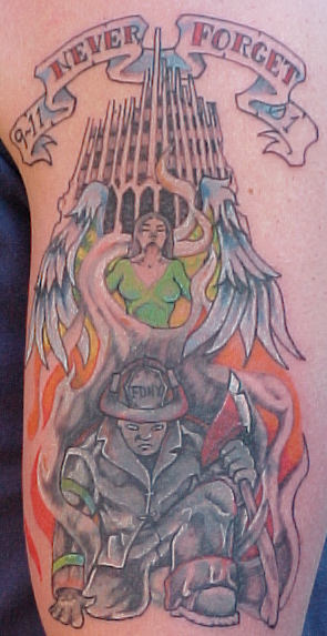 911 tattoo with angel and firefighter.