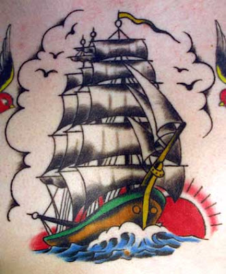 Bright old ship tattoo artwork.