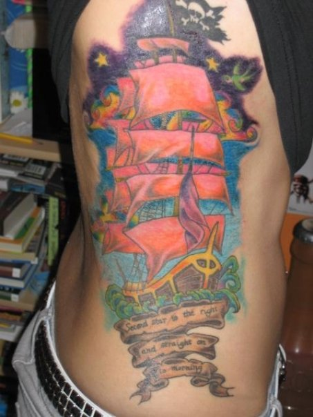 Pirate ship tattoo with skull and crossbones.