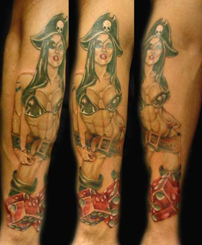Sexy pirate girl tattoo with eye patch.