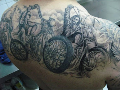 Looking for a cool biker tattoo? Have a look through this picture gallery of