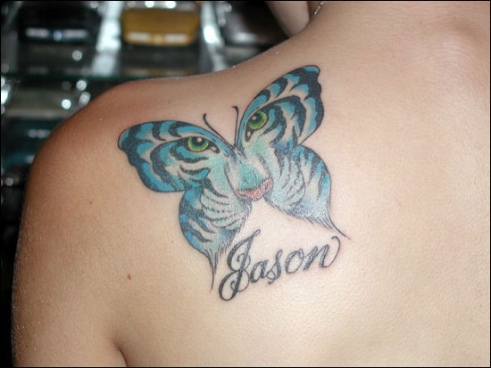 Popular locations for butterfly tattoos are the back, foot and hip area.