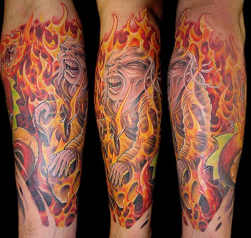 tattoo disasters fire and flame tattoos. Black Bedroom Furniture Sets. Home Design Ideas