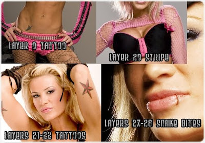 Ashley Massaro Dragon and Star Tattoos