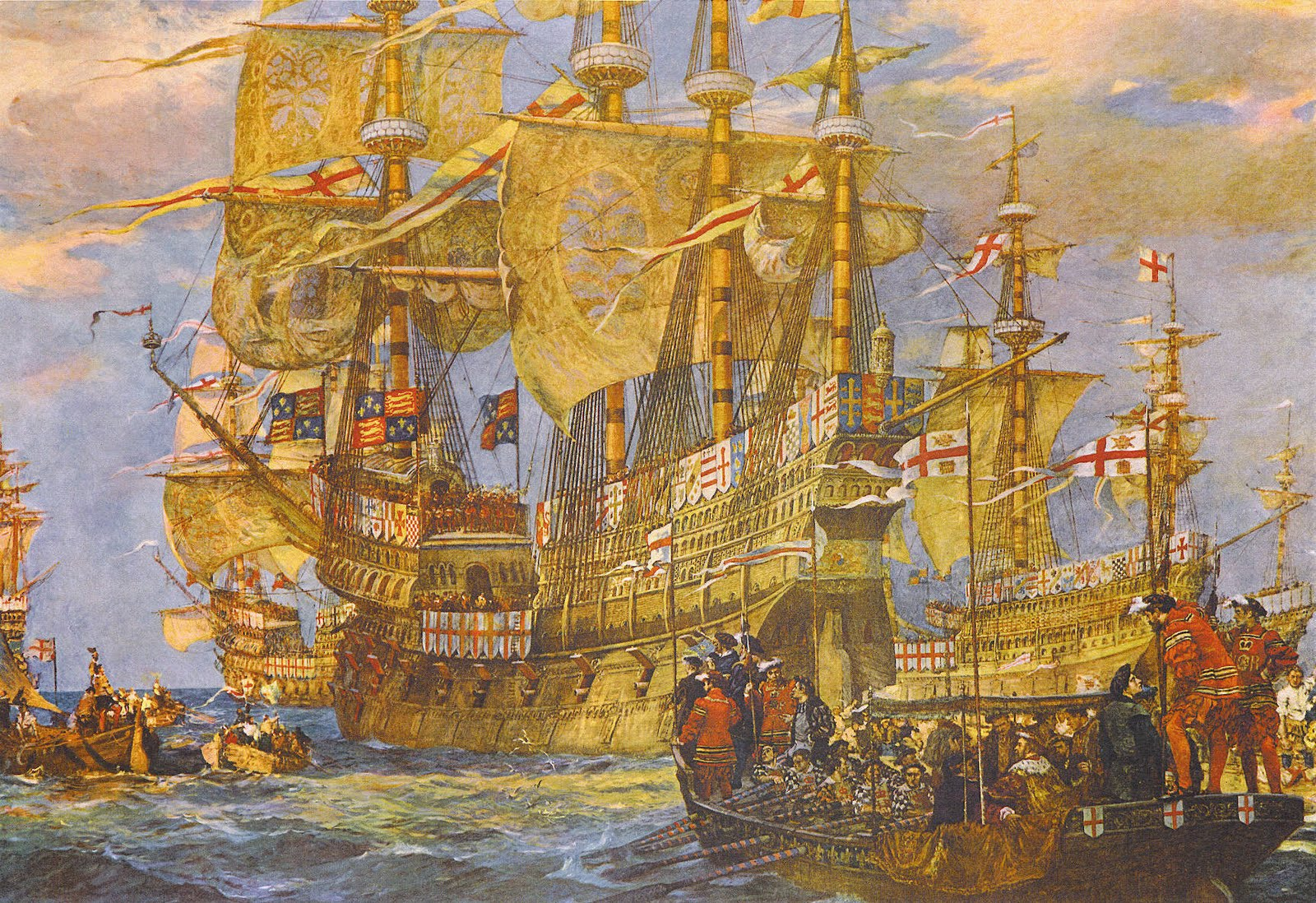 Paulines Pirates Privateers Ships Four Masts And High Castles On Pinterest Ship Figurehead Viking Sailing Embarkation Of Henry Viii Aboard Great Harry By Bernard Finnegan Gribble