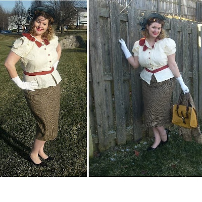 1940s halo hat and peplum blouse with wiggle skirt via va-voom vintage