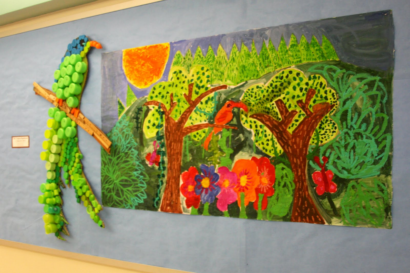 Bulletin boards to remember recycling and jungle mural for Elementary school mural ideas