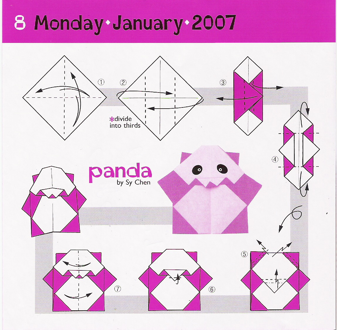Origami pandas embroidery origami for Origami fish instructions