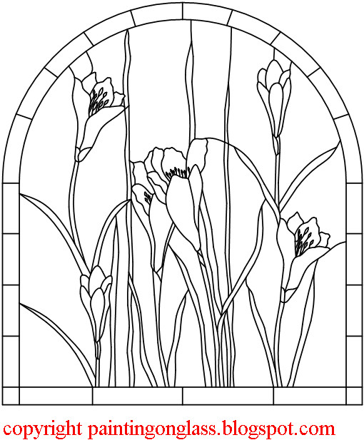 Free Stained Glass Pattern :Crocus Flower