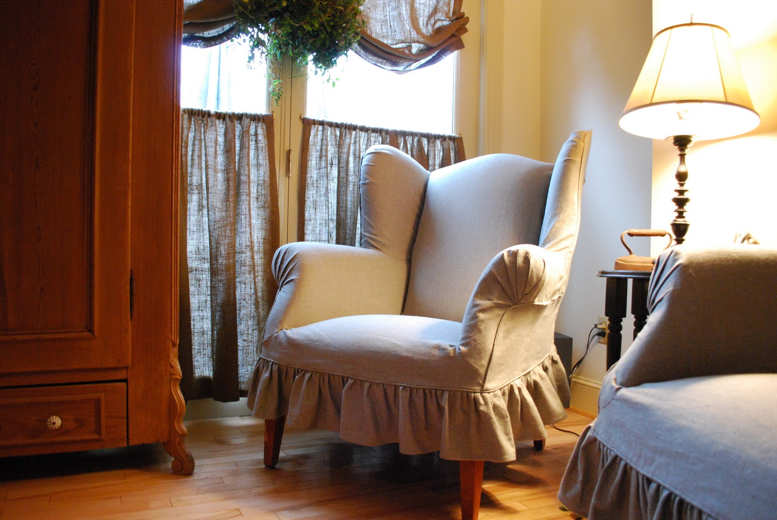 New England Style: Linen Slipcovers for Wingback Chairs