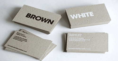 brown and white Business Card