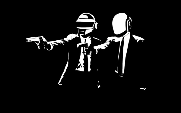 Daft Fiction black and white Wallpaper