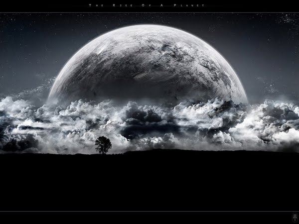 The Rise of a Planet black and white Wallpaper