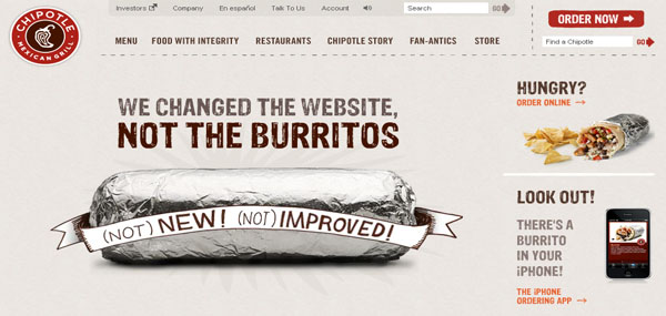 Chipotle Mexican Grill Web Design