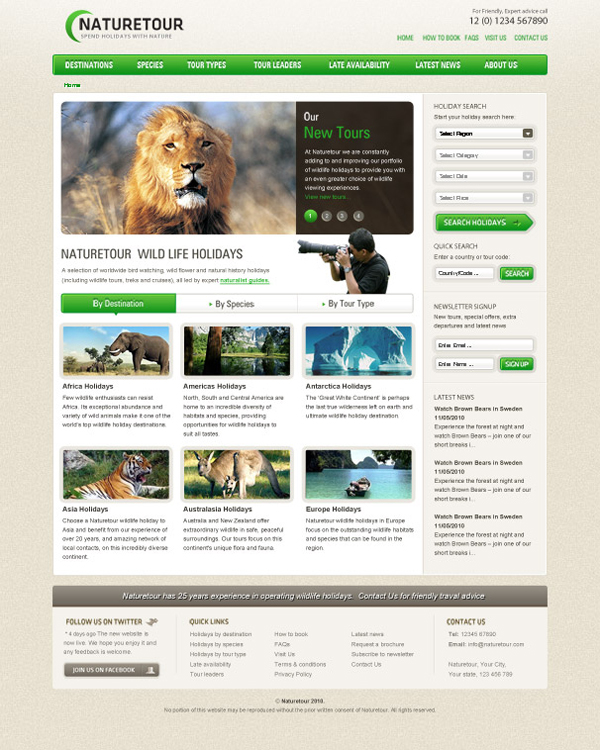 Free PSD Website Template for Nature Enthusiast