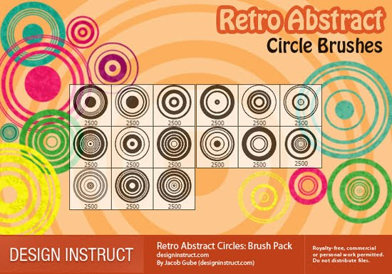 Retro Abstract Circles: Photoshop Brush Pack