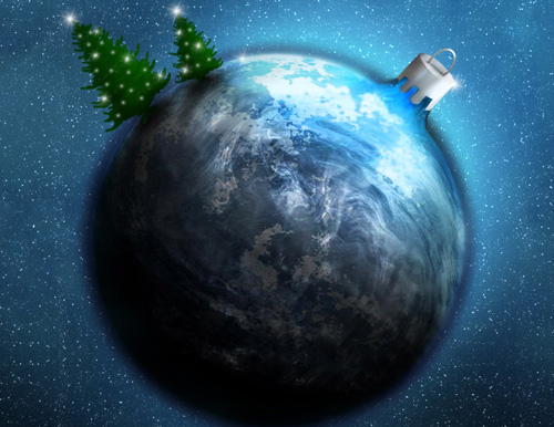 Xmas Space Theme Desktop Wallpaper