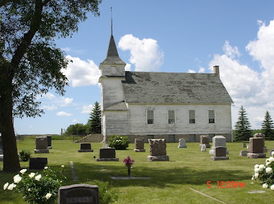 St. Peter's Lutheran Church near Adams--gravestone with Orstad engraved on it in the foreground