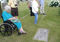 Mom at her parents' graves