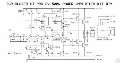 B G R BLAZER ST PRO 2X500W POWER AMPLIFIER KIT DIY circuit