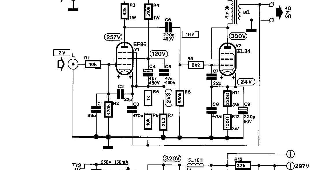 wiring schematic diagram  tube ef86   el34 8watt single