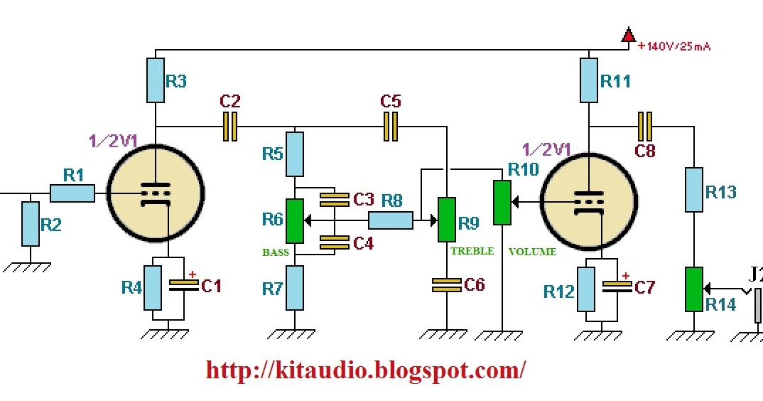 Wiring Schematic Diagram  Build A Tube Preamp For Guitar With Tone Control