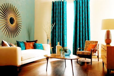Won 39 t you be my nabor beautiful color combo blue orange for Orange and blue living room ideas