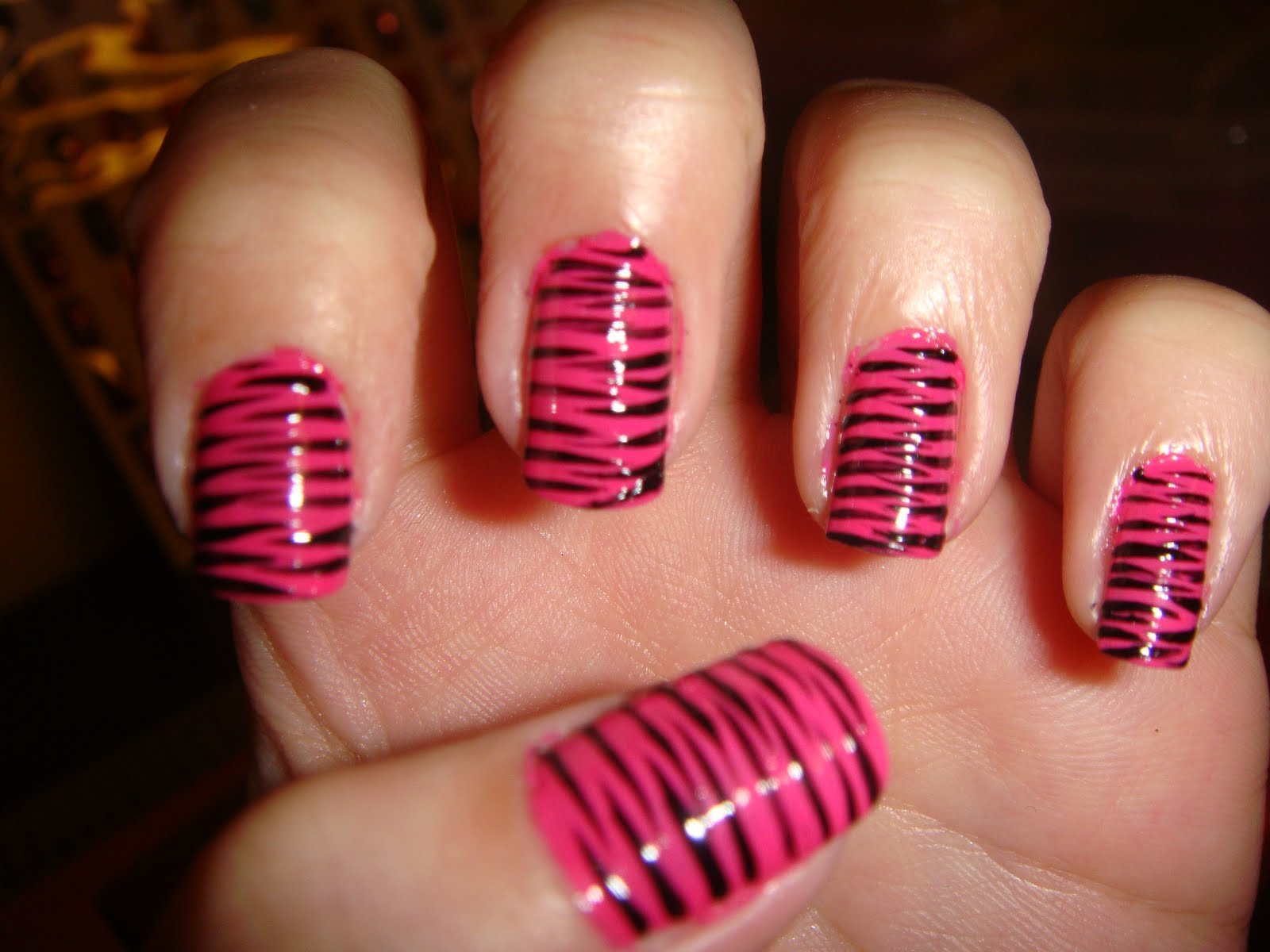 The Appealing Pink zebra print nail designs Image