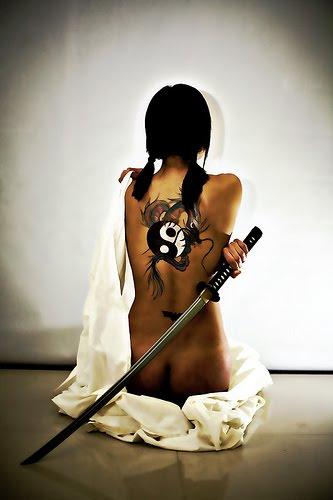 Japanese Yakuza Tattoos Girl with Body Paint Design