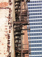 Fire escape on the side of the Pepper Building