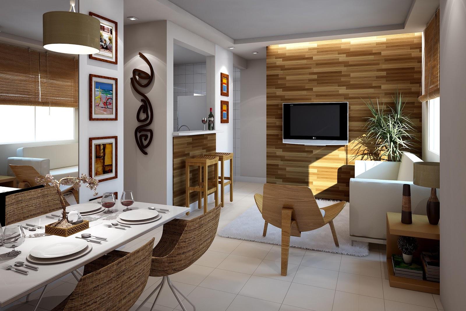 Sala de jantar estar e cozinha americana #966B35 1600 1068